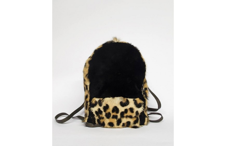 SHEARLING LEOPARD BACKPACK